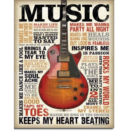 Music Inspires Me Distressed Retro Vintage Tin Sign 13 x 16in