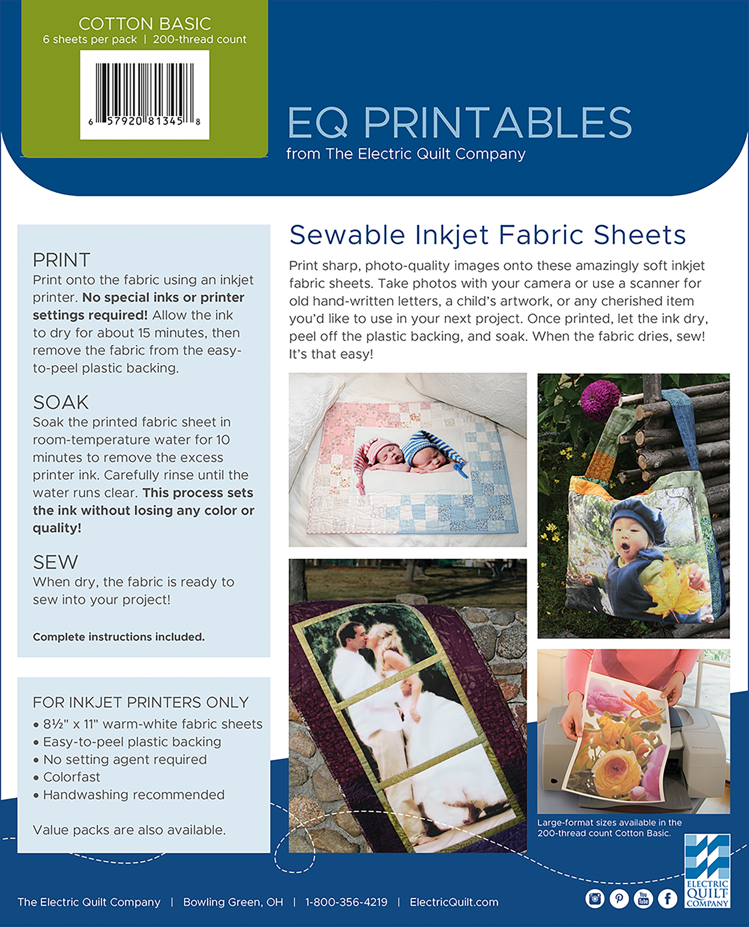 Ink Jet Fabric Sheets 6 sheets Electric Quilt Printable New Never Opened