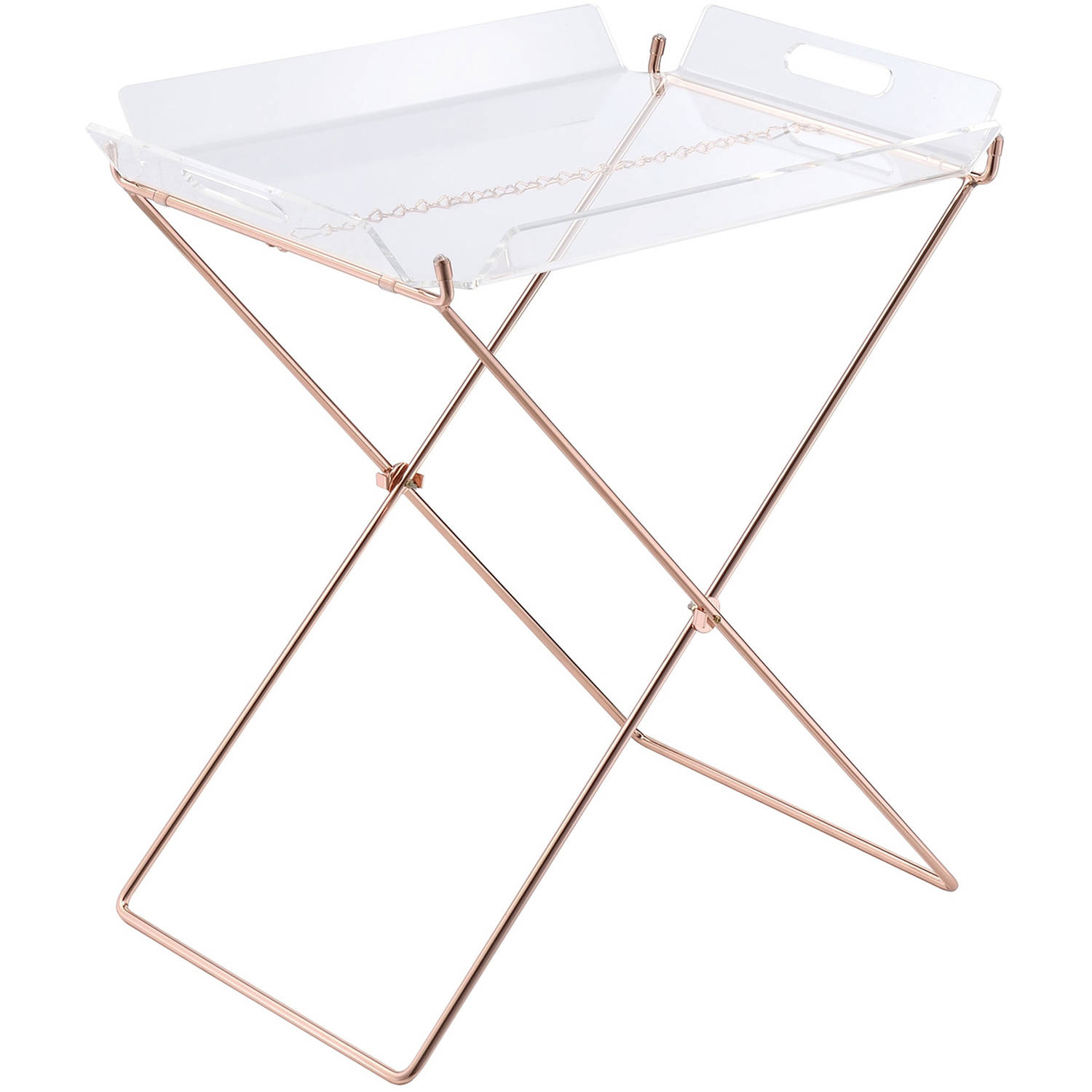 ACME Cercie Tray Table, Clear Acrylic and Copper
