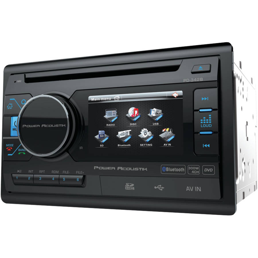 "Power Acoustik PD342B 3.4"" Double-DIN In-Dash LCD Touchsceen DVD Receiver with Bluetooth"
