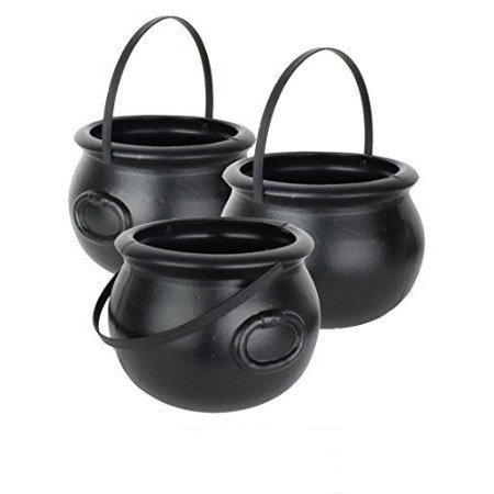 Halloween Cauldron 8 Inch Black Plastic Party Accessory (1/pkg) Pkg/6 - Black Tape Project Halloween