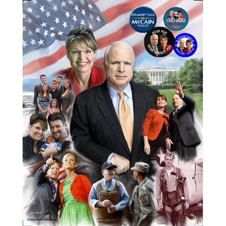 The Mavericks John Mccain   Sarah Palin Poster Print By Gregory Wishum  20 X 24