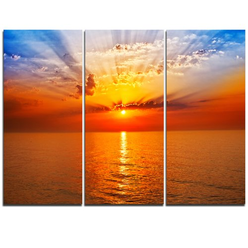 Design Art Orange Sea Sunrise under Blue Sky - 3 Piece Graphic Art on Wrapped Canvas Set