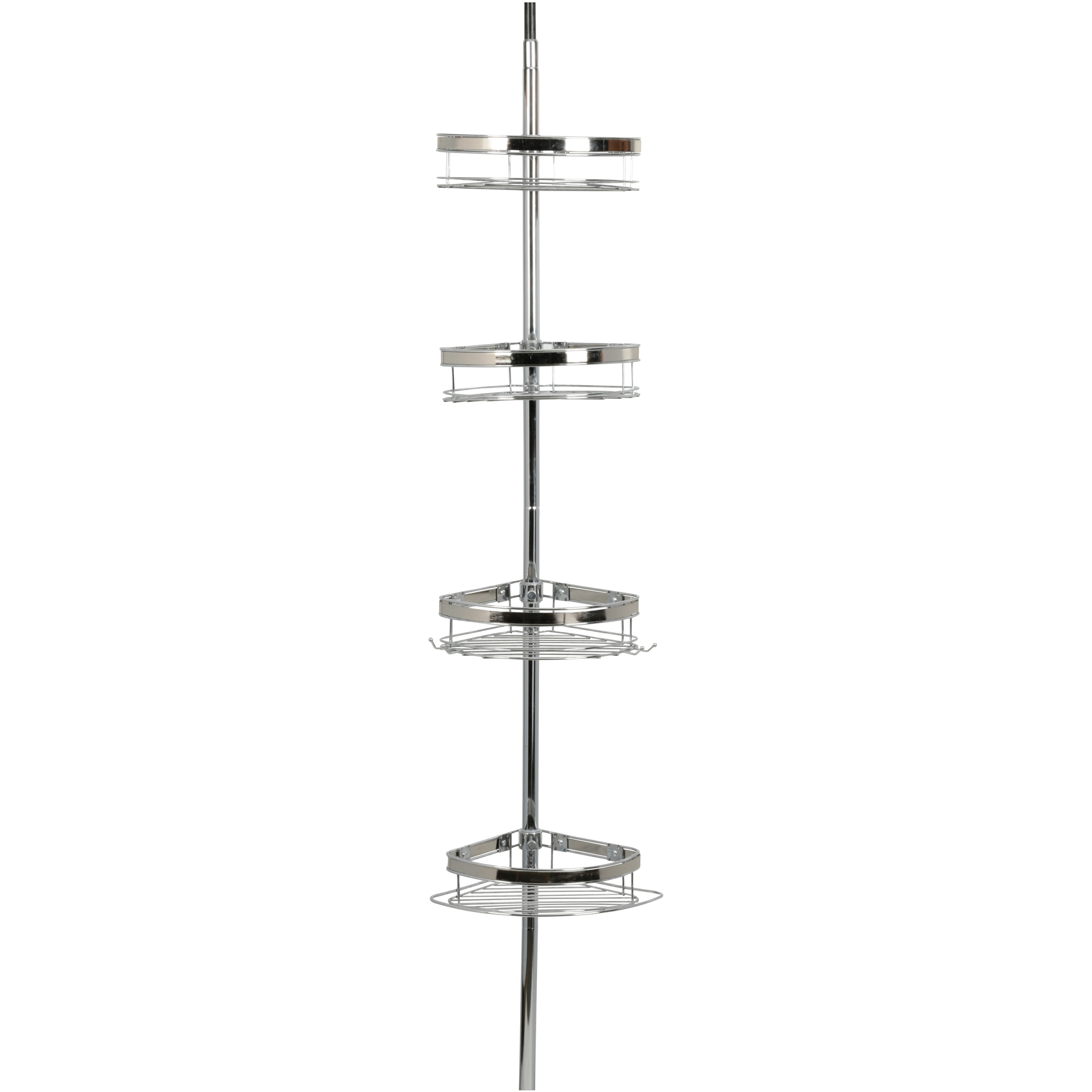 Zenna Home Tension Corner Pole Caddy, Chrome with Brushed Nickel Accents