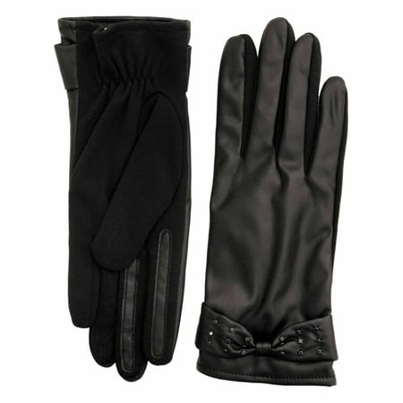 fownes womens black stretch fit leather look driving gloves with studs & bows