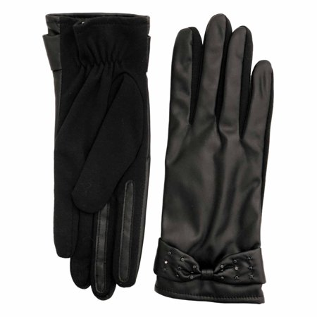 Ladies Leather Driving Gloves - Fownes Womens Black Stretch Fit Leather Look Driving Gloves with Studs & Bows