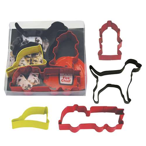 R&M Firefighter 4 Piece Colorful Cookie Cutter Set - Dog, Hydrant, Helmet, Fire Truck