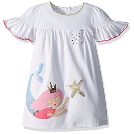 Mud Pie Baby Girls Mermaid Ruffle Sleeve Casual Play Dress, White 4T (Mud Pie Dresses Girls 3t)