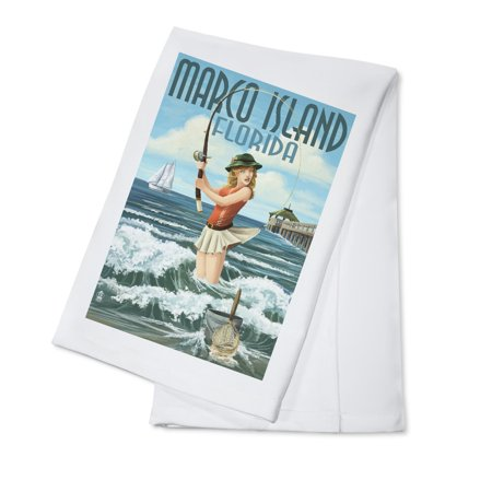 Marco Island, Florida - Pinup Girl Surf Fishing - Lantern Press Artwork (100% Cotton Kitchen