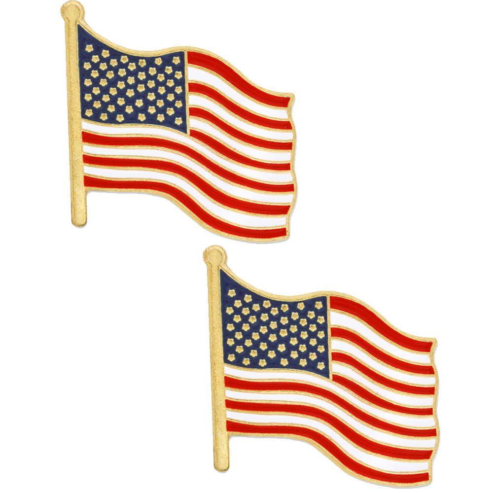 PinMart's BUY ONE GET ONE FREE American Flag Patriotic Enamel Lapel Pin