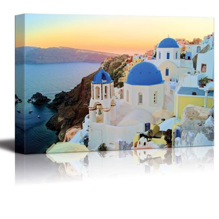 Giclee Print Wood Print - Canvas Prints Wall Art - Sunset View of the Blue Dome Churches of Santorini, Greece   Modern Wall Decor/ Home Decor Stretched Gallery Wraps Giclee Print & Wood Framed. Ready to Hang - 12