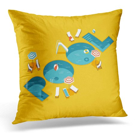 ECCOT Cool Creative on Isometric Letters Shaped Swimming Pool with Chaise Lounges Parasol Umbrellas Beach Ball Pillowcase Pillow Cover Cushion Case 20x20 inch ()