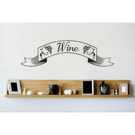 Vinyl Wall Decal Sticker : Wine Banner Grapevine Kitchen Dining Image Quote   Bedroom Bathroom Living Room Picture Art Peel & Stick Mural Size: 12 Inches X 30 Inches - 22 Colors Available (Wine Halloween Quotes)
