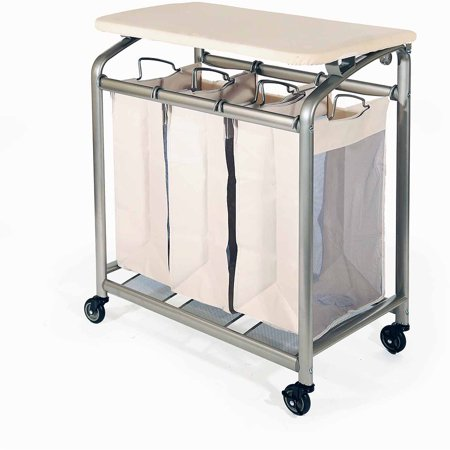 Seville Classics 3-Bag Laundry Hamper Sorter Cart with Folding Table, Champagne