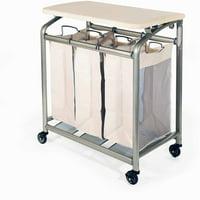 Product Image Seville Clics Mobile 3 Bag Heavy Duty Laundry Hamper Sorter Cart W Folding