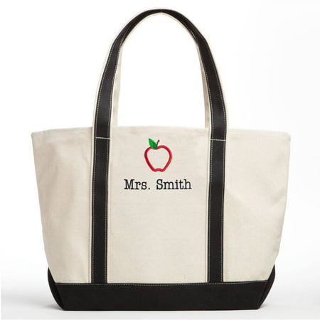 Special Teacher Personalized Tote Bag - Black/Creme with Apple Design - Personalized Teacher Bags