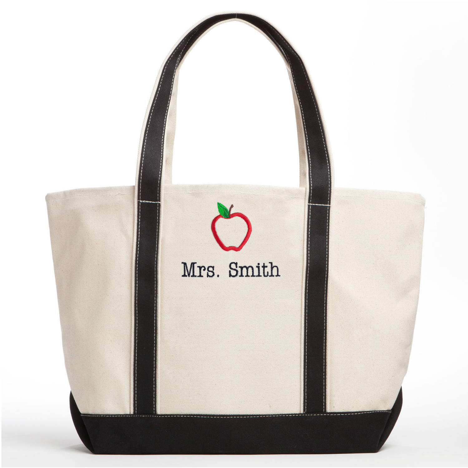 Special Teacher Personalized Tote Bag - Black/Creme with Apple Design