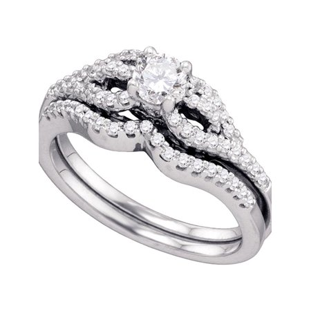 14kt White Gold Womens Round Diamond Bridal Wedding Engagement Ring Band Set 3/4 Cttw - image 1 of 1