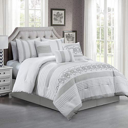 Chezmoi Collection Ariel 7-Piece Gray White Geometric Chenille Embroidery Pleated Striped Comforter Set
