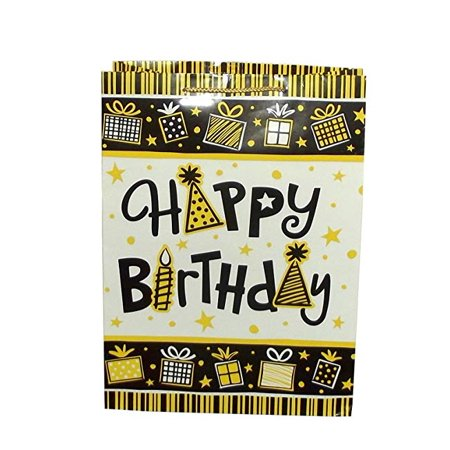 Amscan Happy Birthday Black and Yellow Highlighter Style Gift Bag, 17 X 12.5 X 6 - Yellow Gift