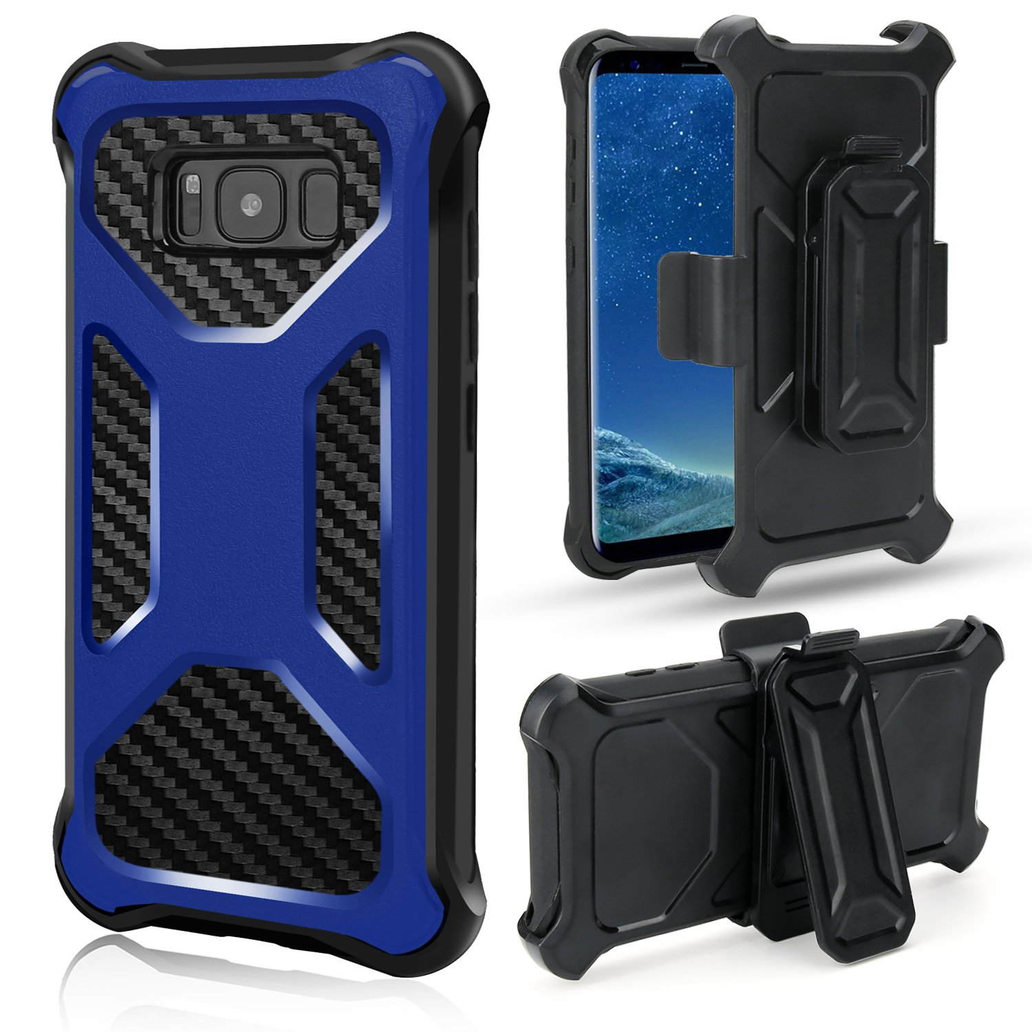 Samsung Galaxy Note 8 Case, Rugged Carbon Fiber Holster Combo Kickstand Clip Case Cover - Blue