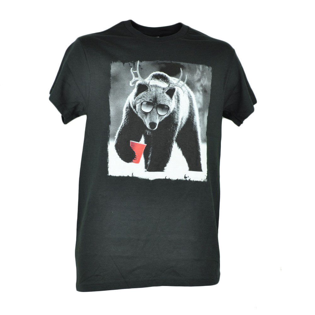Grizzly Bear Antler Drinking Graphic Black White Mens Tshirt Tee Novelty XLarge