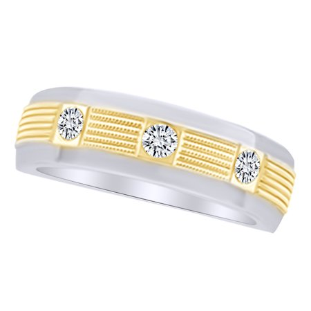White Natural Diamond Two Tone Band Ring in 14k White Gold (0.25 Cttw) 14k Two Tone Diamond Band