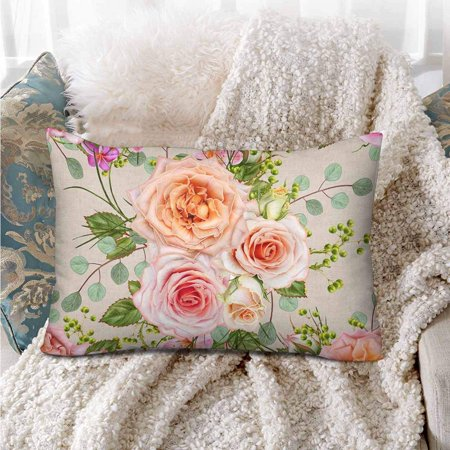 GCKG Floral Delicate Beautiful Pink Rose Green Berry Leaves Pillow Cases Pillowcase 20x30 inches - image 3 de 4