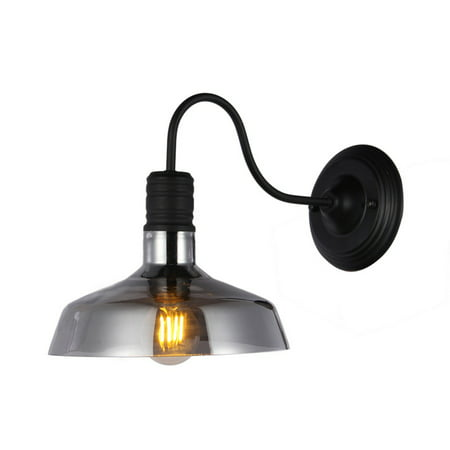 Salvin Black Metal 1-light Wall Sconce wtih 10-Inch Smoked Glass Shade includes Edison Bulb Bow 1 Bulb Sconce