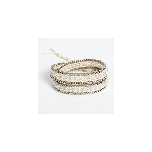 Pack of 4 Silver and White Faux Pearl Women's Wrap Fashion Wristlet Bracelets