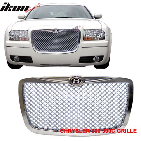 Chrome Front Grille Grill (Ikon Motorsports Grille - Fits 05-10 Chrysler 300C 300C Chrome Mesh Grille B Style Front)