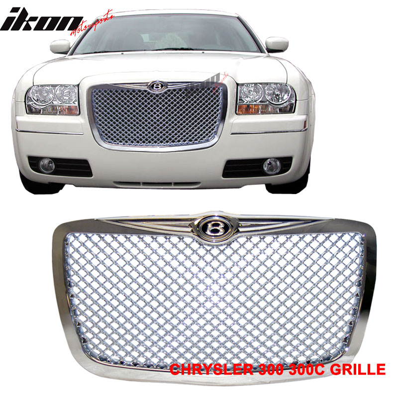 Ikon Motorsports Grille - Fits 05-10 Chrysler 300C 300C Chrome Mesh Grille B Style Front Grill