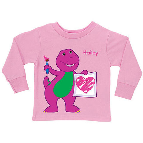 Personalized Barney Painting Pink Girls' Long Sleeve Tee