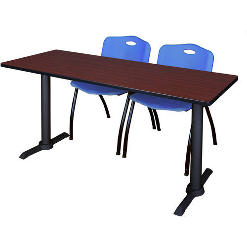 "Cain 72"" x 24"" Mahogany Training Table and 2 ""M"" Stack Chairs, Multiple Colors"