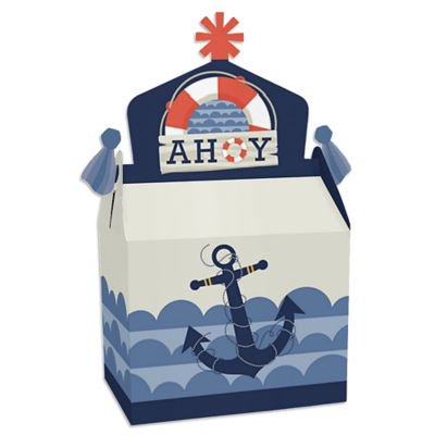 Nautical Baby Shower Party Favors (Ahoy - Nautical - Treat Box Party Favors - Baby Shower or Birthday Party Goodie Gable Boxes - Set of)