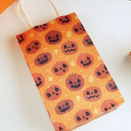 Halloween Paper Candy Bags (KABOER Halloween Candy Bag Gift Bags Spooky Party Supplies Pumpkin Face Paper Trick Treat Loot Lolly)