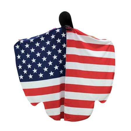DZT1968 Women 4th Of July American Flag Shawl Scarves Ladies Poncho Costume Accessory (4th Of July Costumes For Women)