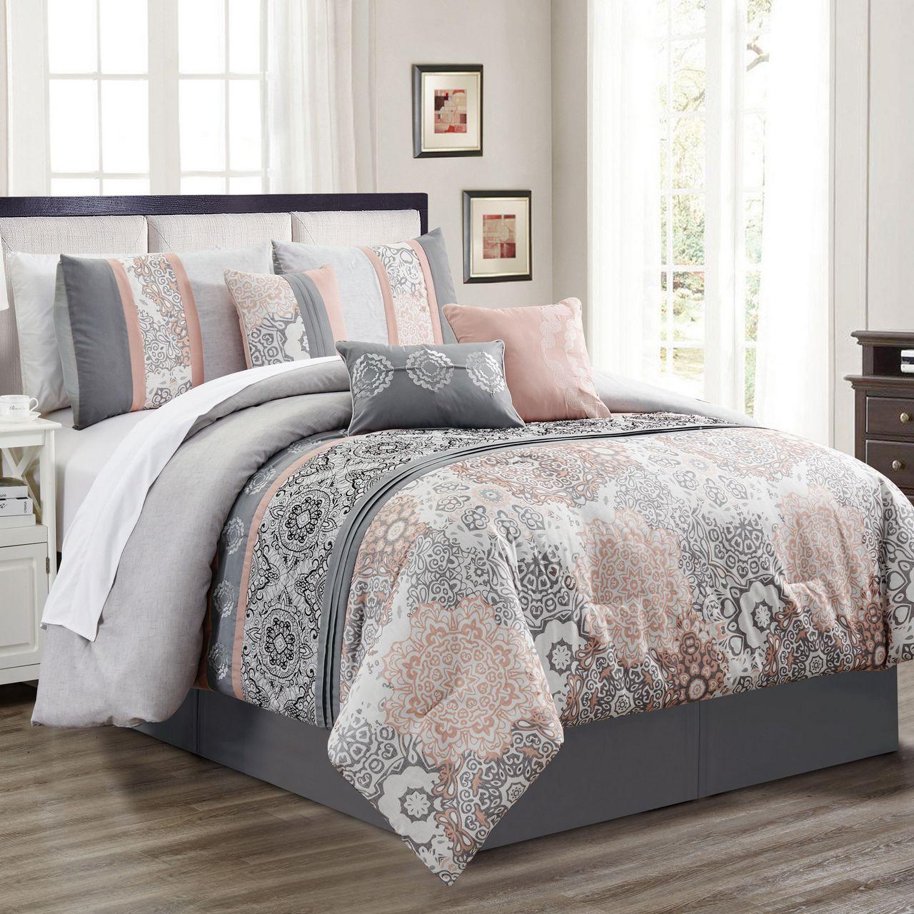 7 Piece Poplar Blush/Gray Comforter Set