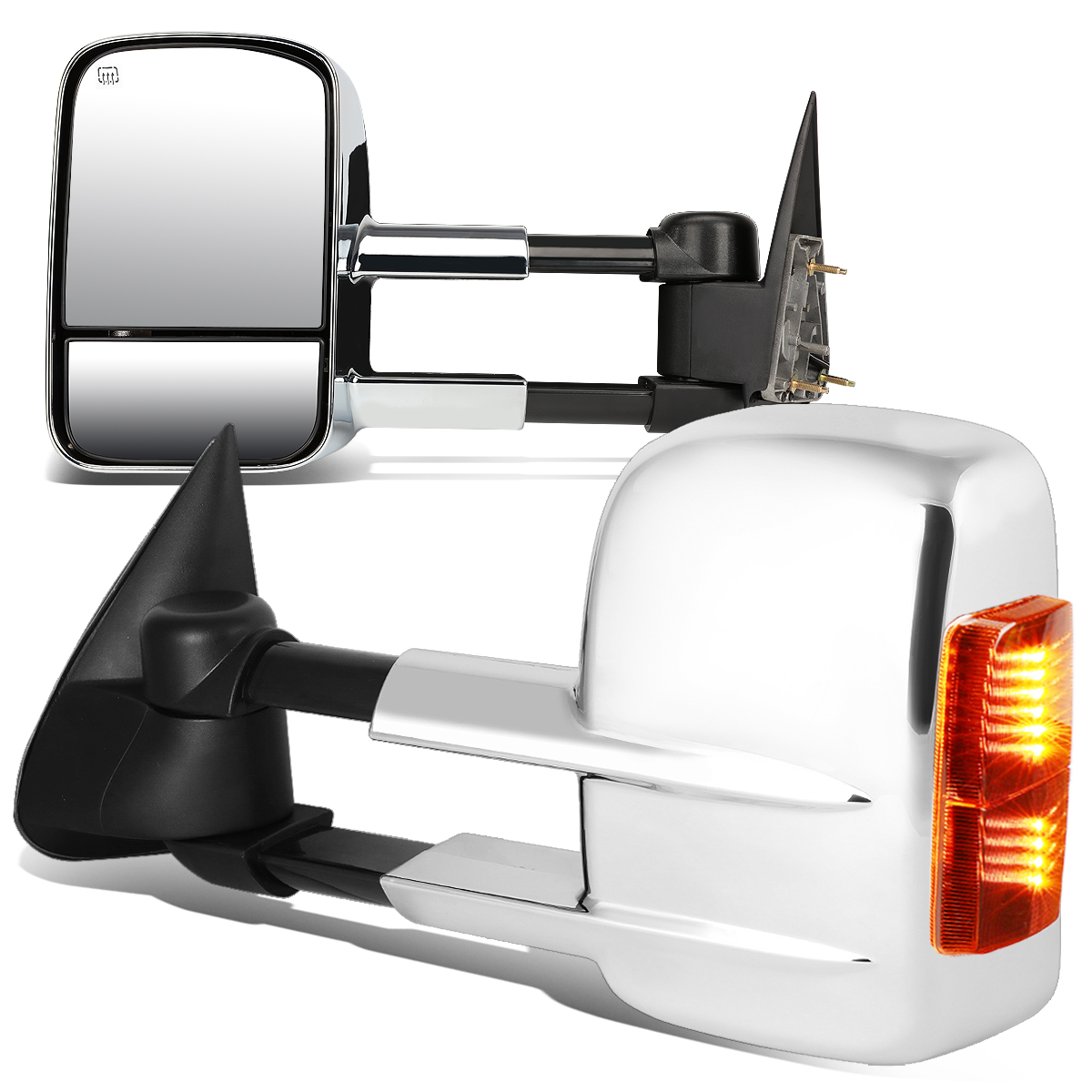 For 00-02 Yukon / Tahoe Pair of Powered + Heated Signal Glass + Manual Extenable Chrome Side Towing Mirrors 01