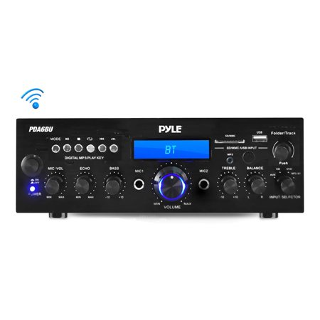 PYLE PDA6BU - Compact Bluetooth Stereo Amplifier - Desktop Audio Power Amp Receiver with FM Radio, MP3/USB/SD Readers, Digital LCD Display, Microphone Input (200 (Stereo Amplified Receiver)