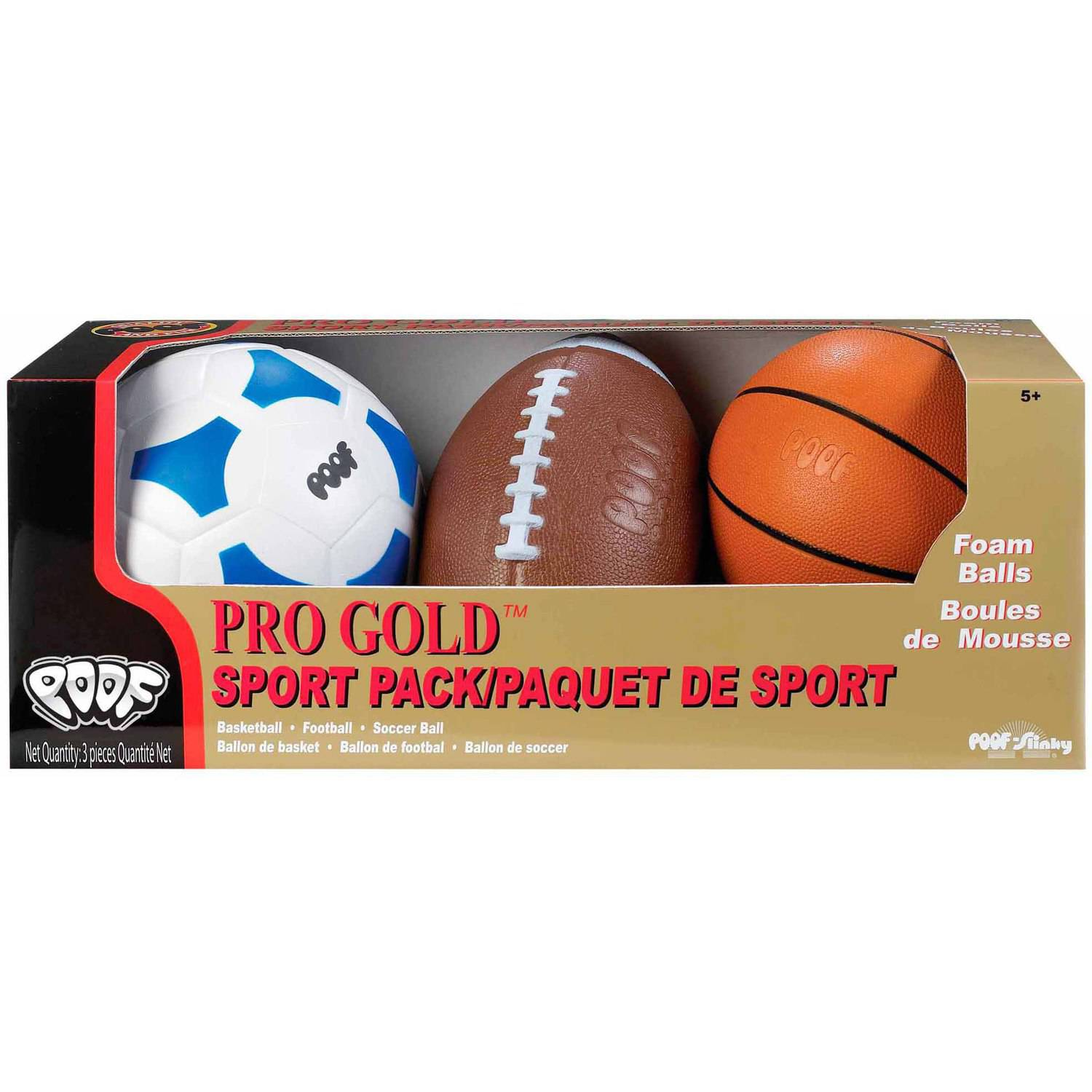 "POOF-Slinky Pro Gold Foam 9.5"" Football, 7"" Basketball and 7.5"" Soccer Ball 3-Ball Sport Pack in Box (Various Colors) 463BL"