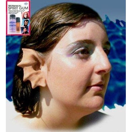 Halloween Latex Prosthetic Ears Merfolk Mermaid w/ Mehron Spirit Gum Remover Kit for $<!---->