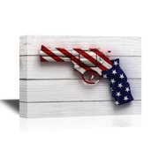 wall26 Canvas Wall Art - Gun with the American Flag Pattern - Gallery Wrap Modern Home Decor   Ready to Hang - 16x24 inches