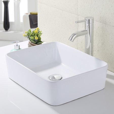 Kes Bathroom Rectangular Porcelain Vessel Sink Above Counter White Countertop Bowl For Lavatory Vanity Cabinet