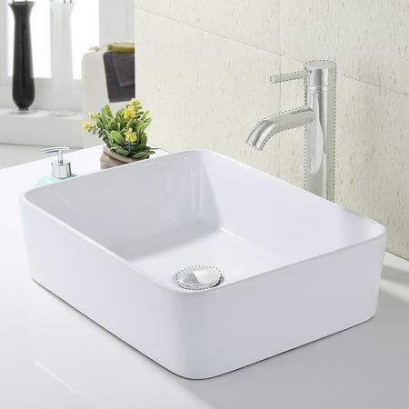 Kes Bathroom Rectangular Porcelain Vessel Sink Above Counter