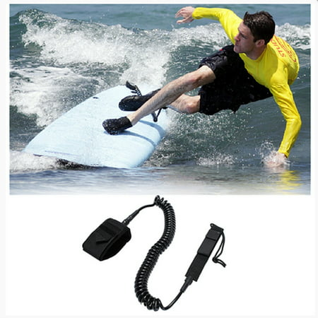 Black Surfboard Leash 10ft Coiled Stand UP Surfing Paddle Board Leash surf rope TPU 7mm - Stand Up Surfboard