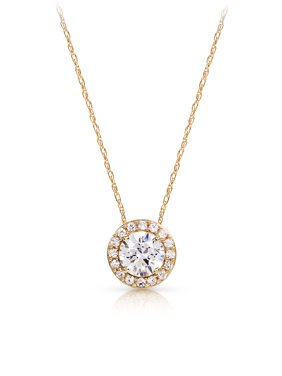 Brilliance Fine Jewelry Halo Round Cubic Zirconia Pendant Necklace made with Zirconia from Swarovski
