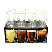 Moderna Artisan Series Double Wall 12 oz Beverage Glasses Set of 8 Drinking Glasses by OZERI