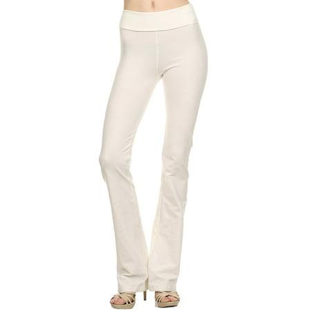 9e57f3d43f87e T Party - T Party Solid Fold Over Waist Yoga Pants, Large, - Walmart.com