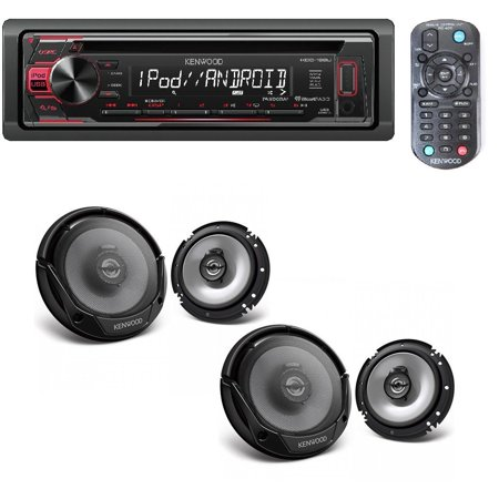 Kenwood In-Dash 1-DIN CD Car Stereo Receiver with Front USB Input W/ 4) Kenwood 6.5 Inch 600 Watt 2-Way Car Audio Door Coaxial Speakers (Car Stereo Kenwood Speakers)